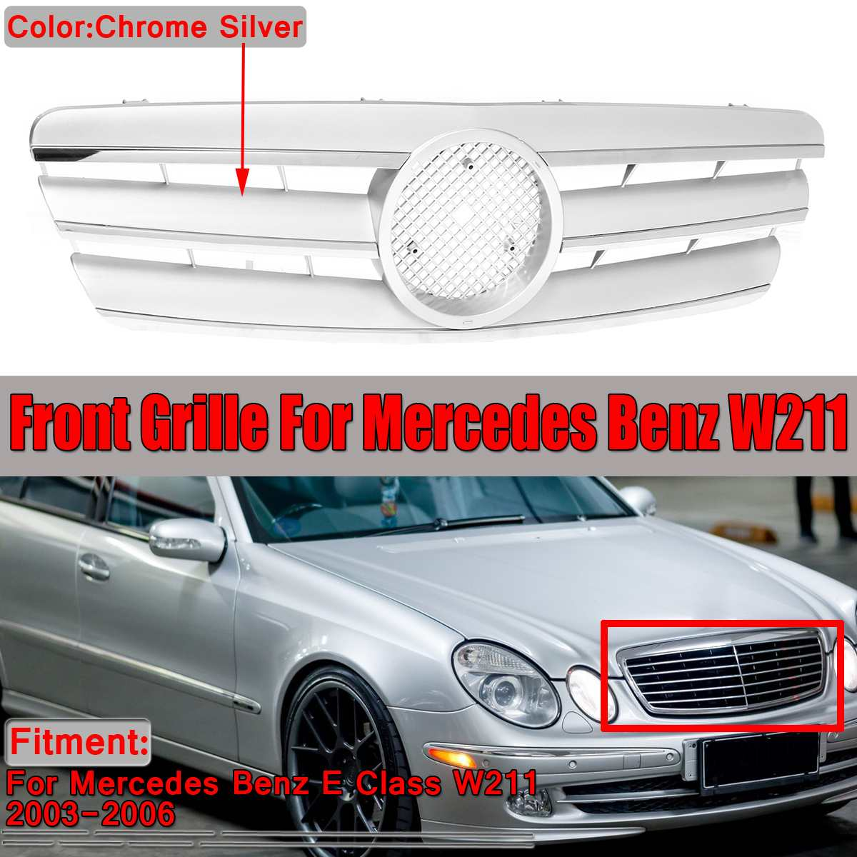 <font><b>W211</b></font> <font><b>Grill</b></font> Chrome Silver Car Front Bumper <font><b>Grill</b></font> Grille For <font><b>Mercedes</b></font> For Benz E Class <font><b>W211</b></font> Grille 2003-2006 Without Emblem image