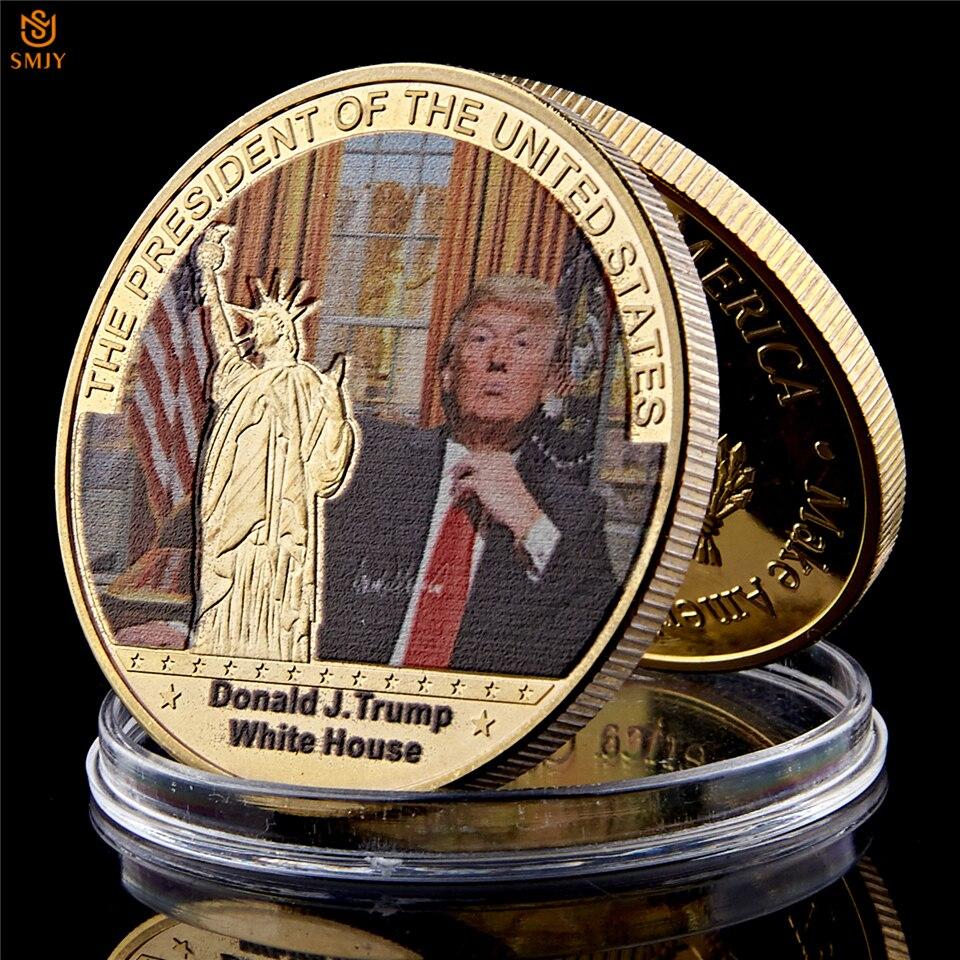 Редкие декоративные подарки, монета, покрытая золотом, памятная монета Дональда Трампа, с сертификатом 40 мм