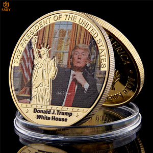 Rare Decorative Gifts US President's Coin Gold Plated Donald Trump World Celebrity Commemorative Coin With Certificate 40mm