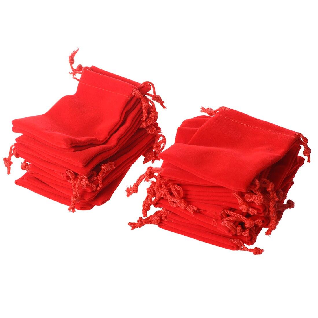 25 X Velvet Jewelry Gift Bag Velvet Red