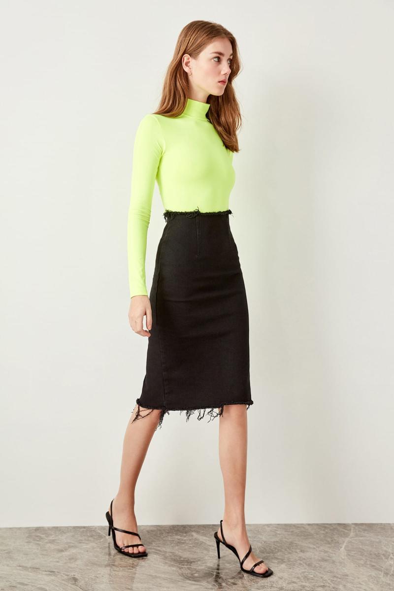 Trendyol Black Skirt Ucu Tassels Denim Skirt TWOSS19WL0010