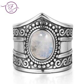 e3c03a06fcad Nueva joyería fina Vintage 7*9 MM grandes anillos de piedra lunar del arco  iris Natural Plata de Ley 925 para las mujeres regalos de aniversario