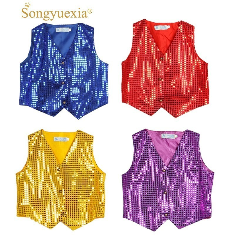 Boys Sequins Vest Shirt Outwear School Hip-Hop Party Costumes Choir Jazz Dance