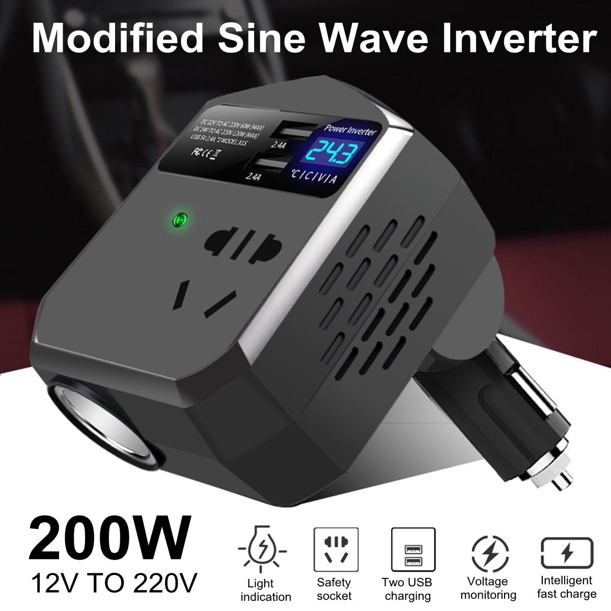 Mini <font><b>Auto</b></font> Power Inverter 12 V 200 W Power Inverter 12 V/24 V <font><b>Auto</b></font> Adapter Modifizierte Sinus Welle inverter LCD Display Schnelle Ladung image