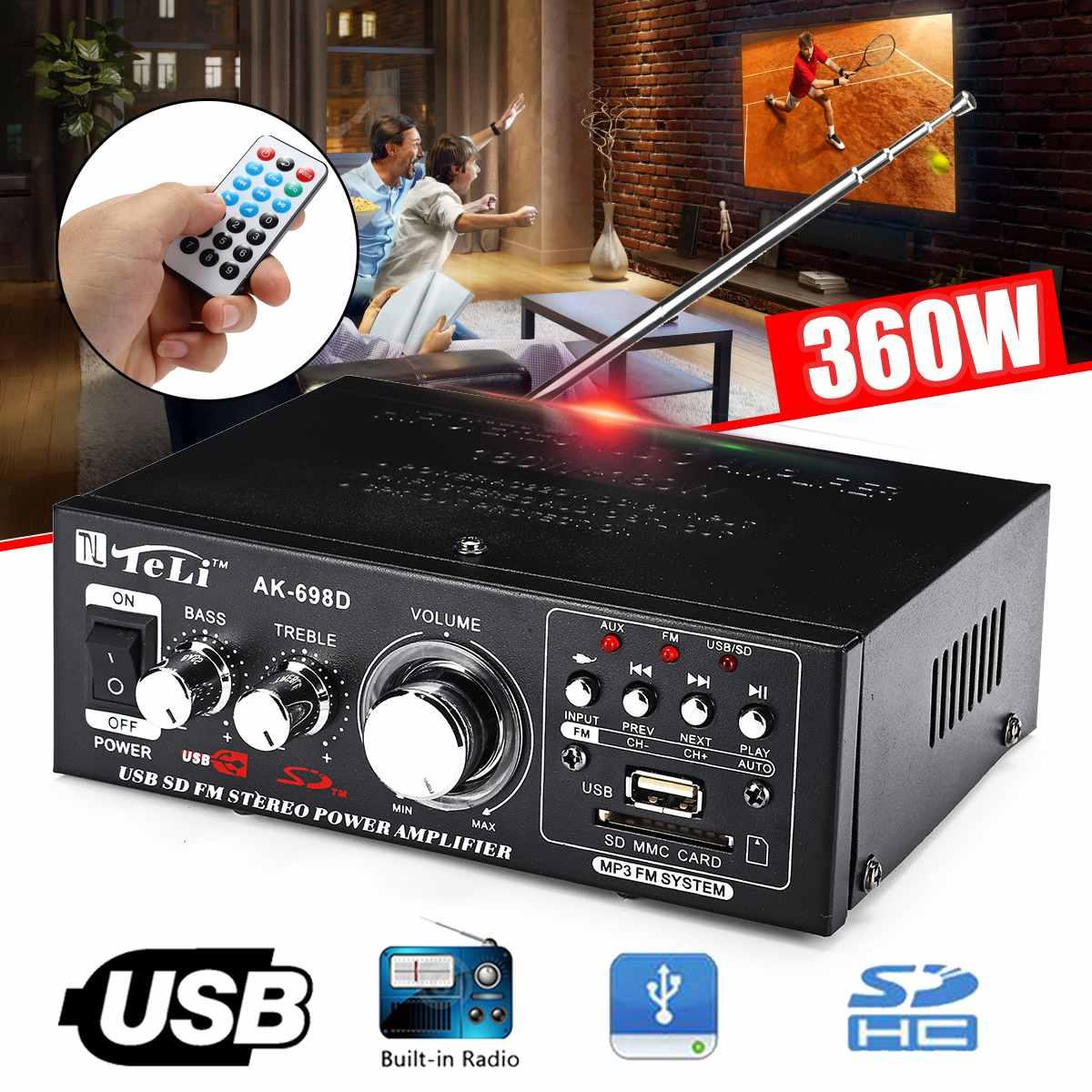 360W 12V/220V HIFI Audio Stereo Power Amplifier FM Radio 2CH Car Home