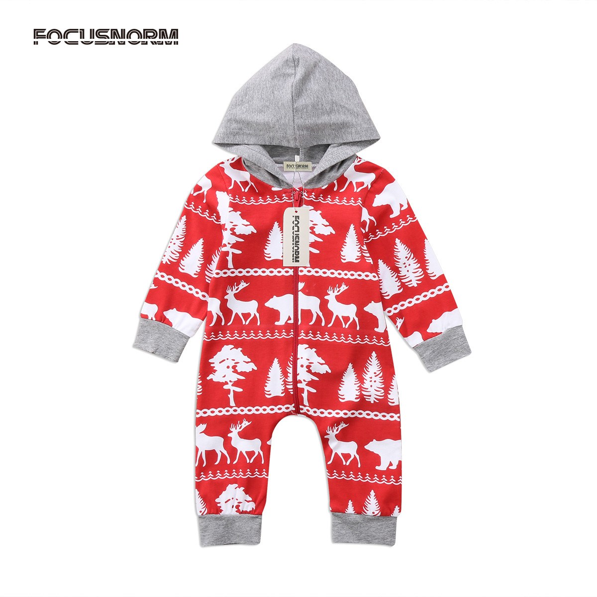 Newborn Baby Infant Boy Girl Christmas Deer Print Romper Hooded Zipper Jumpsuit Playsuit Outfits Cute Festival Clothes