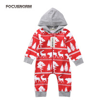 Newborn Baby Infant Boy Girl Christmas Deer Print Romper Hooded Zipper Jumpsuit Playsuit Outfits Cute Festival Clothes pudcoco cute newborn kids baby girl infant lace romper dress jumpsuit playsuit clothes outfits