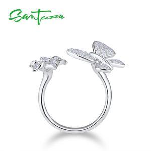 Image 3 - SANTUZZAแหวนเงิน925เงินสเตอร์ลิงGorgeousแหวนผีเสื้อสีขาวเงาCubic Zirconiaแฟชั่นเครื่องประดับ