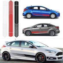 Universal Car Sticker Sports Racing Stripe Body Side Door Vinyl Waterproof Fade Resistant Self-adhesive Black White