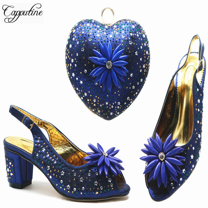 acff5ea0049f African Summer Woman Shoes And Bag Set 2019 Fashion Popular Rhinestone Pumps  Shoes And Bag Set