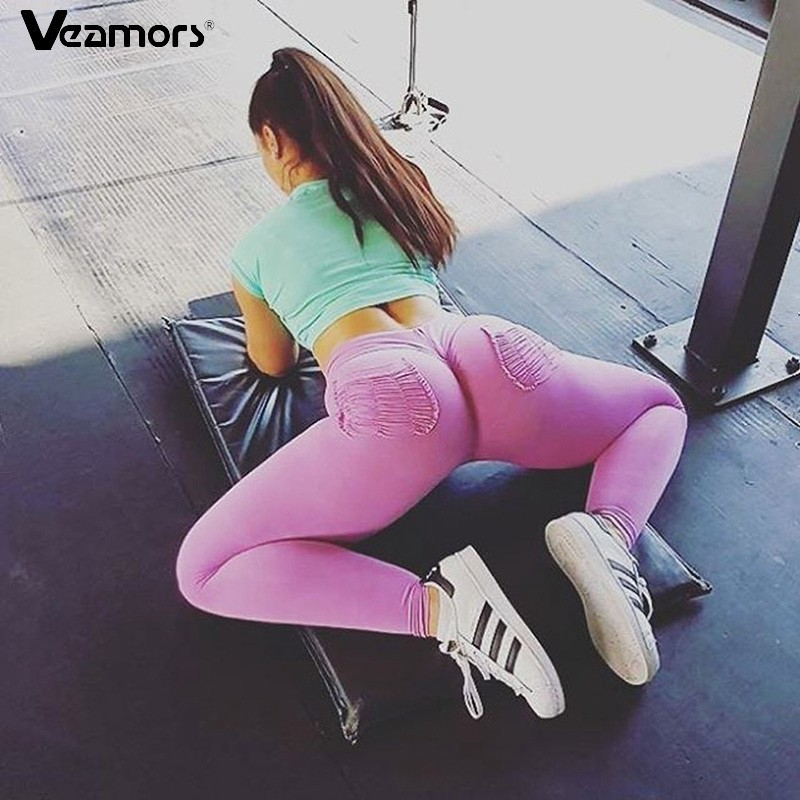 VEAMORS Women Sports Yoga Pants Slim Exercise Fitness Leggings Sexy Push Up Pants With Pockets Ladies Solid Color Leggings