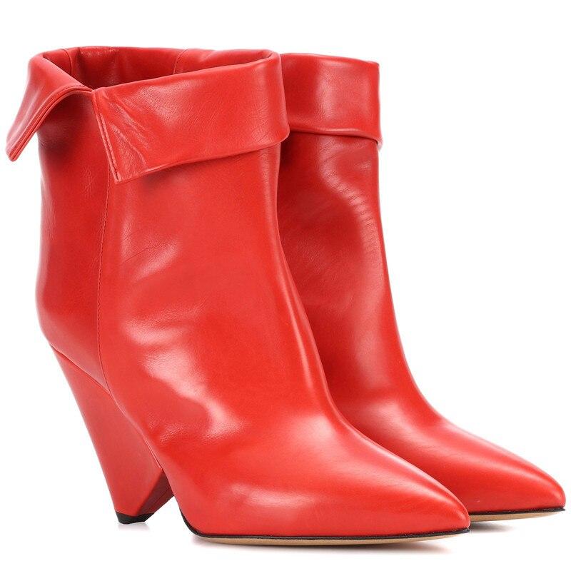 Show Show Talons Cuir Rouge Bottes Nouveau Hiver Automne Designer Mode Hauts Classique As Chaussures Noir En Pour Femmes as 2019 Bottines Pointu Vin Bout qAgWf1w