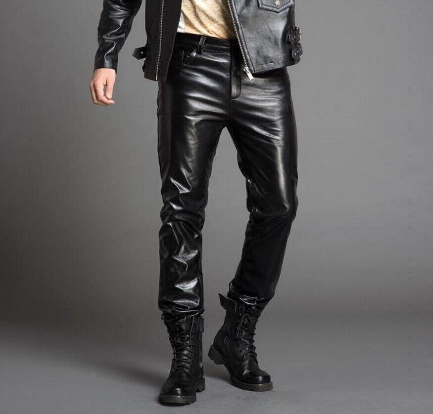 30 36! 2019 мужская повседневная одежда, брюки из воловьей кожи высокого качества, Тонкие штаны из натуральной кожи размера плюс, брюки для сцены, костюмы певицы