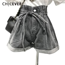 CHICEVER Spring Women Denim Short Pant High Waist Lace Up Drawstring With Button Pockets Loose Female Wide Leg Pants 2020 New