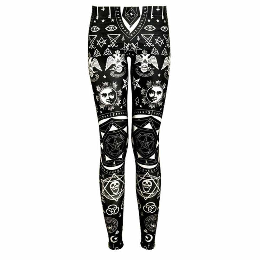 Leggings Vrouwen Herfst Dunne Goth Fashion Skull Star Print Zachte Workout Fitness Joggingbroek Stretch Ademend Slim Casual Leggings