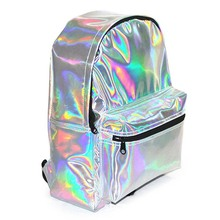 Casual Backpack for Women of Color Silver PU Leather School Bag Hand Backpack for Travel цены