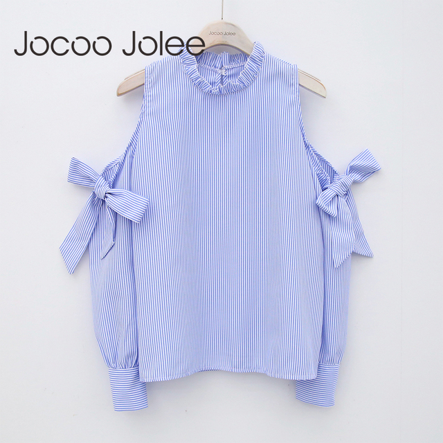 Jocoo Jolee Sexy Off-Shoulder Bow Blouse Fashion Striped Shirt Long Sleeve  Blouse Women Clothing High Street Wearing 2018