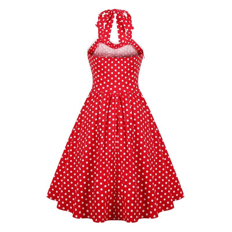 Femme longues Haute Grande Dos Mi Taille Pois Nu Vintage Femmes Robes Rouge Halter Robe Voyage Élégant Sexy D'été Bowknot BWCdxreo