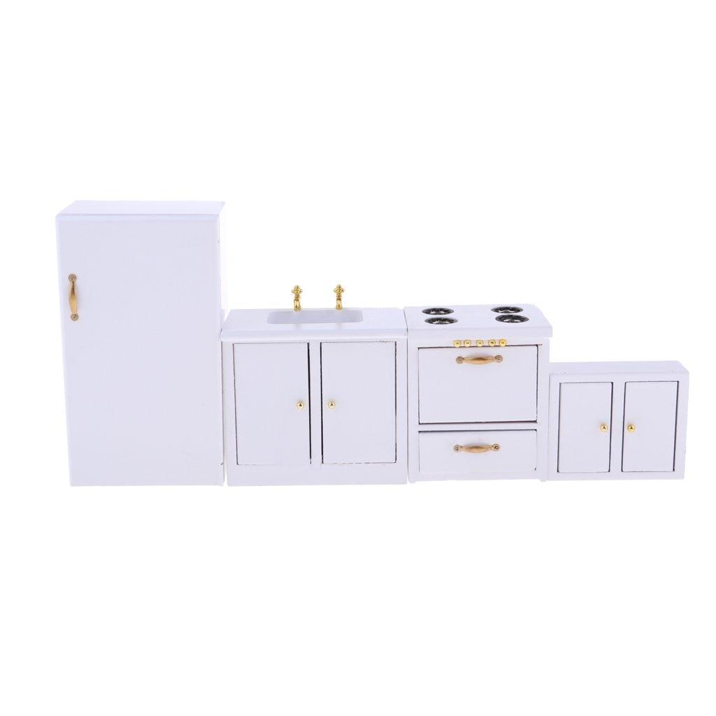 1:12 échelle maison de poupée meubles de cuisine en bois réfrigérateur évier armoires modèle Miniature maison de poupée accessoires décoration jouets