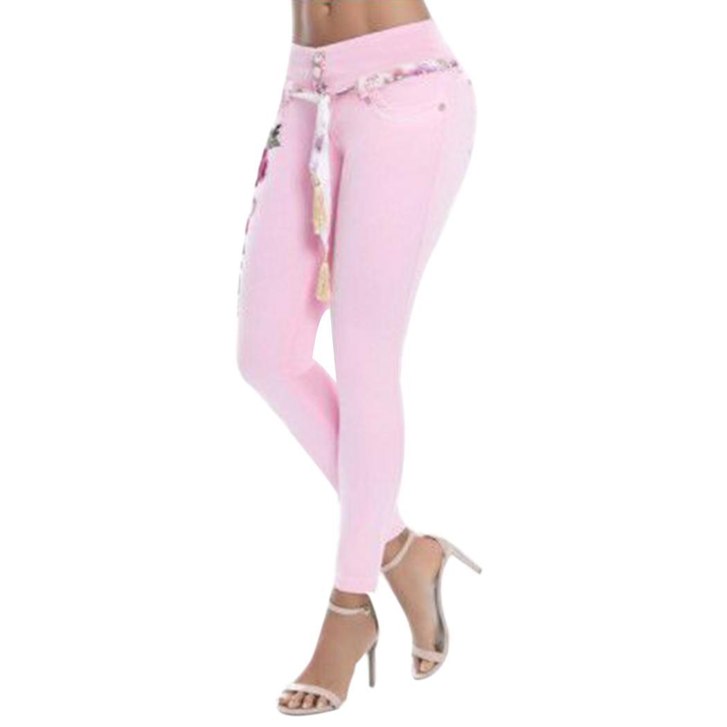 Women Fashion High Waist Floral Embroidery Stretchy Full Length Causal All Seasons Skinny   Jeans