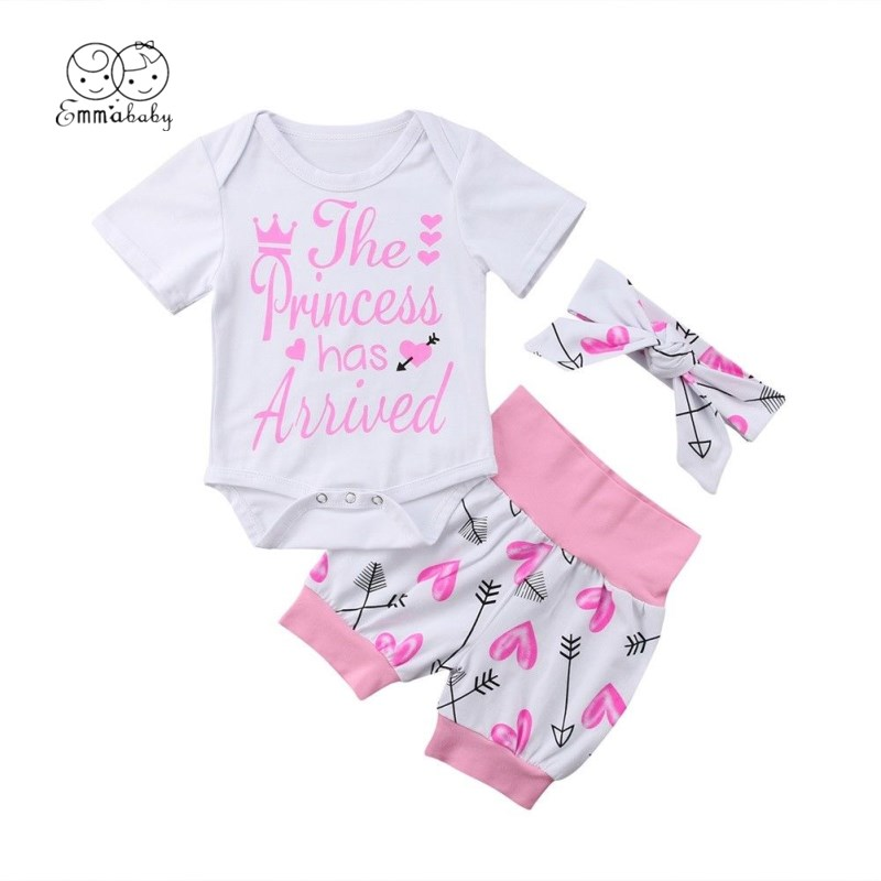 2019 Brand Cute Valentine's Day 0-24M Kids Toddler Baby Girl Clothes Romper Bodysuit+Short Pants Sunsuit Outfit Set