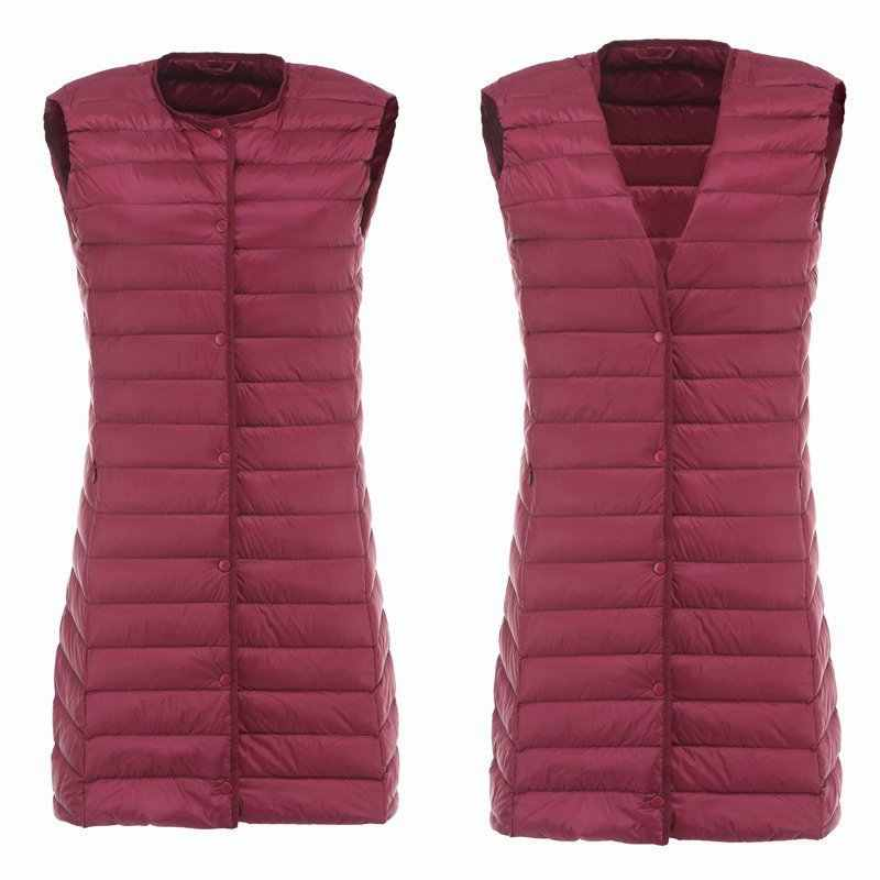 NewBang Marke Lange frauen Weste Ultra Licht Unten Weste Frauen Waitcoat Weibliche Unten Mantel Dünnen Sleeveless Ohne Kragen Jacke