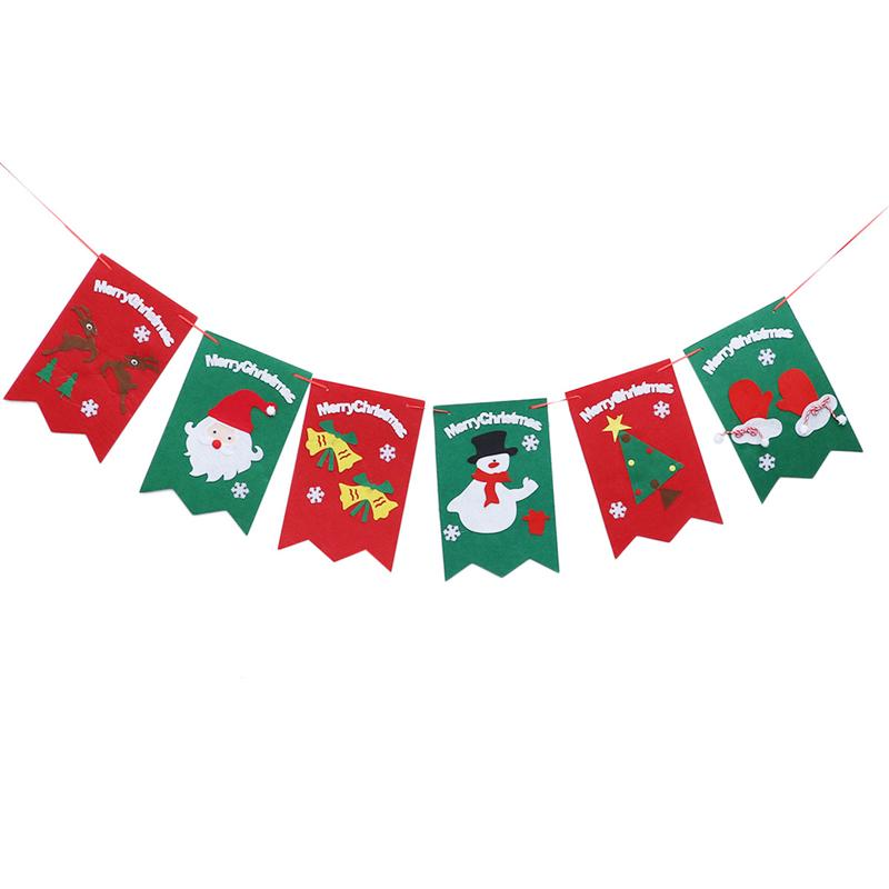 1pc Christmas Flags Banner Bunting Garland Decoration Photo Background for Holiday Season Kids Room Party Home