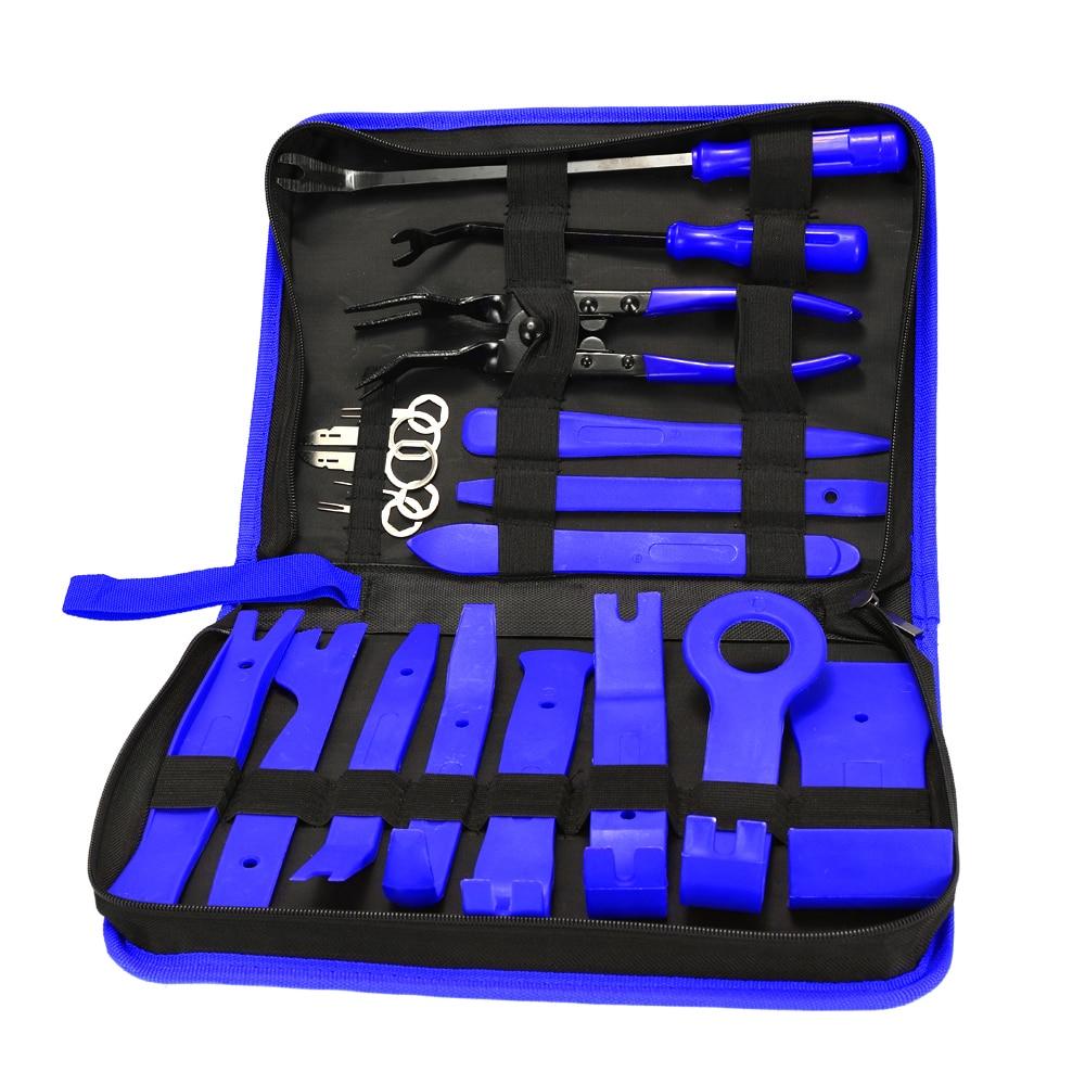 19pcs Auto Car Audio Radio Interior Door Panel DIY Plasti c Demolition Installation Pry Tool Repair Hand Tools Kit Keys Pliers