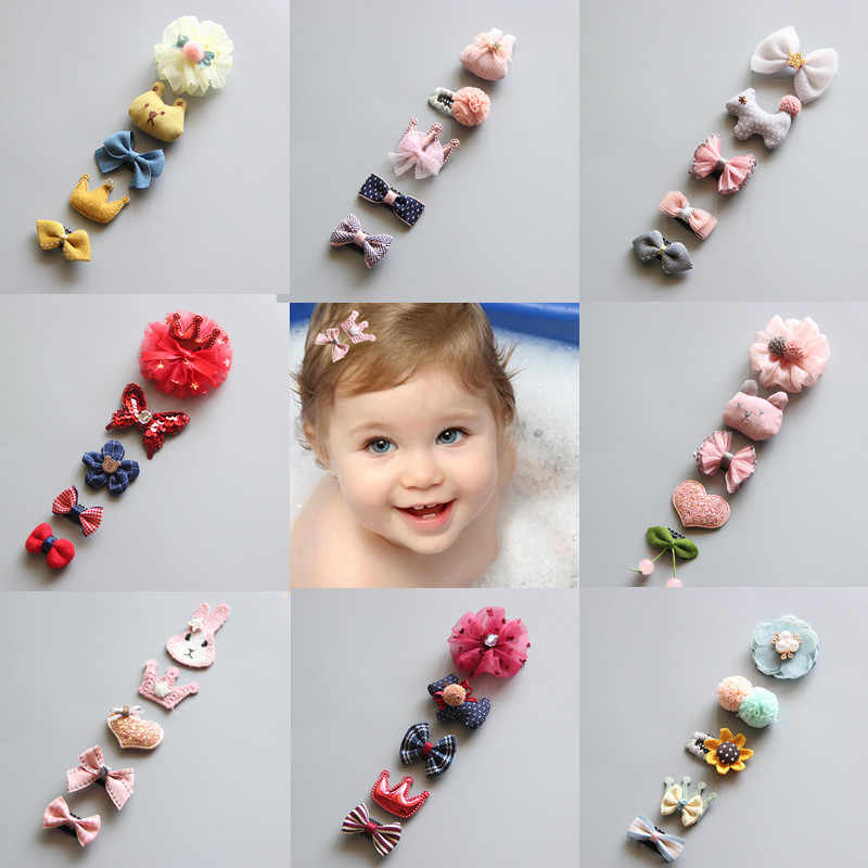 5Pcs/Set Baby Hair clip Set Baby Headband Accessories Cross Kid Hair Clip Cartoon Girl Hair Clip Baby Barrettes Hair Accessories