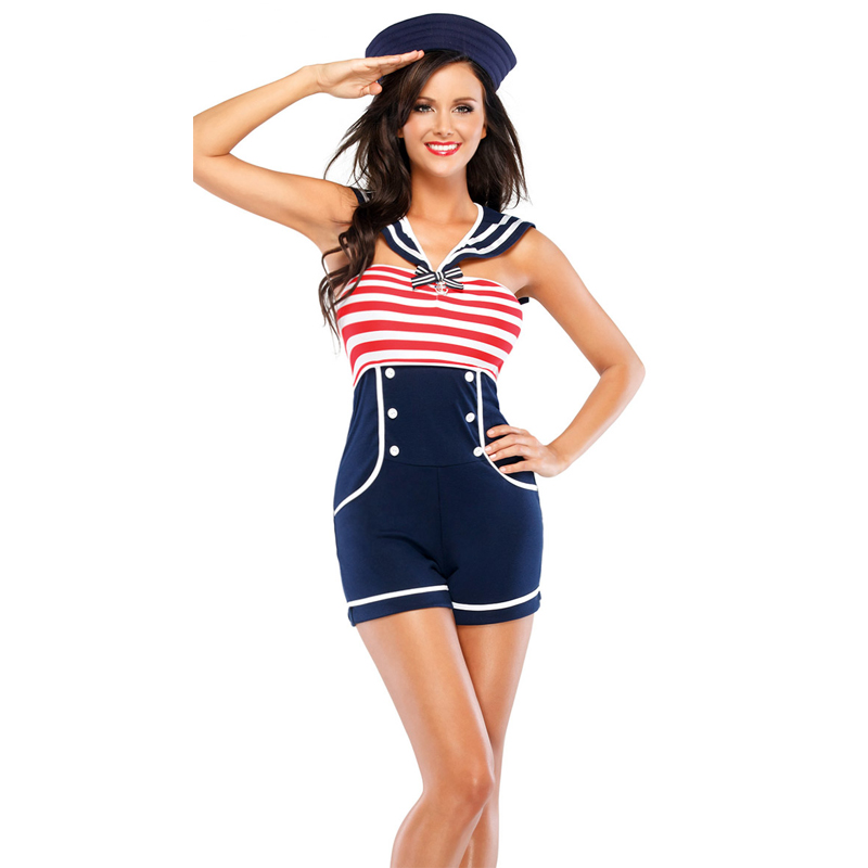 Womens Sexy Playful Pinup Sailor Costume Navy Bodysuit With Hat