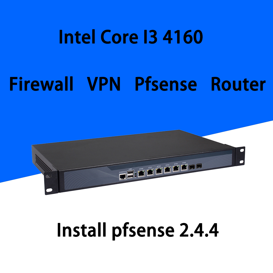 Firewall Mikrotik Pfsense VPN Network Security Appliance Router PC Intel Core I3 4160,[HUNSN SA17R],(6LAN/2USB/1COM/1VGA)