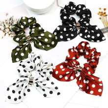 1PC Elastic Streamer Flower Print Hair Ring Fashion Ribbon Girl Bands Long Tassel Dots Scrunchies diademas para mujer