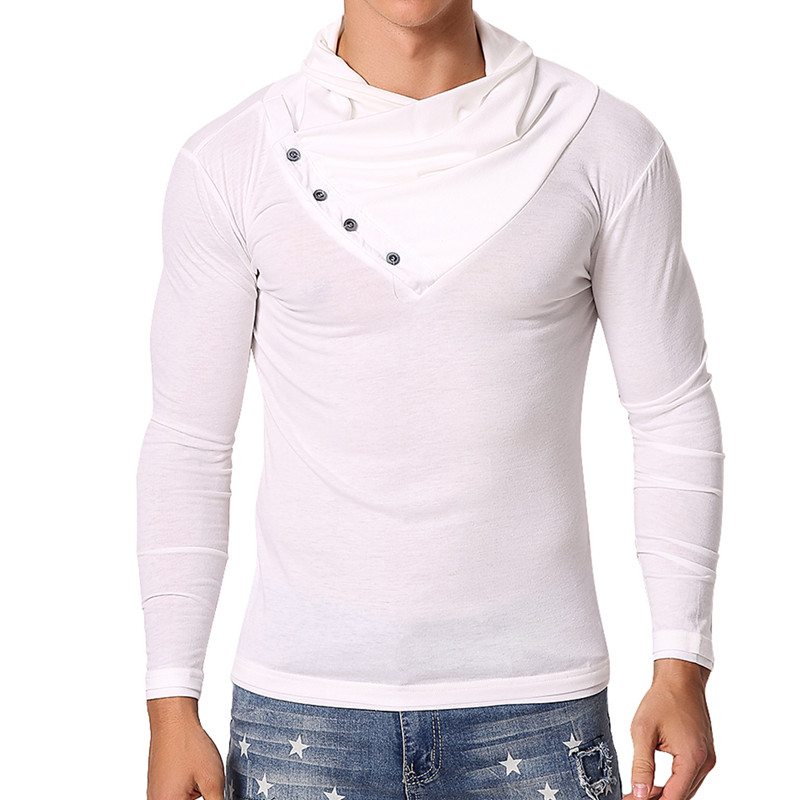 Brand Mens T-Shirts Long Sleeve Muscle T-Shirts Heap Collar Slim Fitness Autumn Clothing Plain Joggers Tee Camisas Masculina
