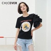 Женская футболка CHICEVER, белая футболка с коротким рукавом и принтом