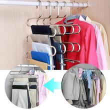 Multifunction S-Type Anti-Slip Pants Hanger 5 Layers Trousers Rack Closet Clothes Holder Organizer