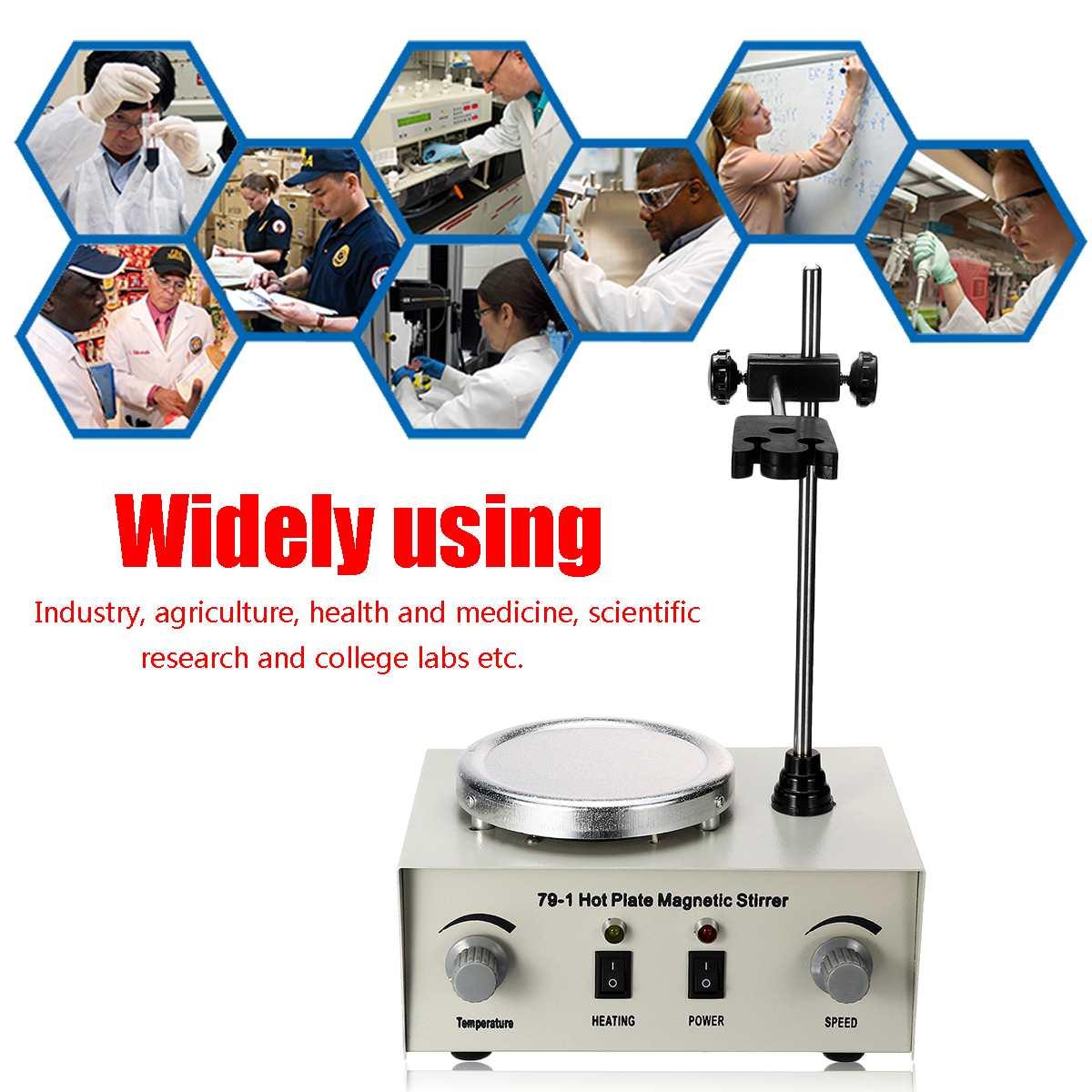 79-1 agitador magnético da placa quente misturador magnético 1000ml laboratório aquecimento duplo controle misturador vibração fusíveis proteção 110/220 v 250 w