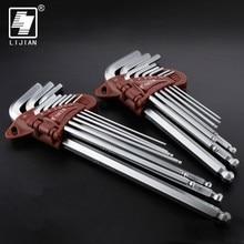 LIJIAN 9pcs 1.5mm - 10mm Hexagon  Allen Key Wrench Tools set Matte Chrome Ball End Spanner Screwdriver Set Tool Kit