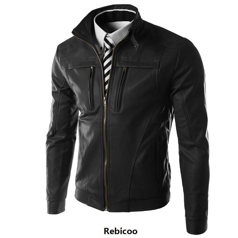 2019 New Casual Slim Men Leather Jacket Fashion Men PU Leather Jacket Solid Color Mandarin Collar Male Jacket Rebicoo269