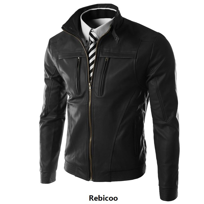 New Casual Slim Men Leather Jacket Fashion Men PU Leather Jacket Solid Color Mandarin Collar Male Jacket Rebicoo269