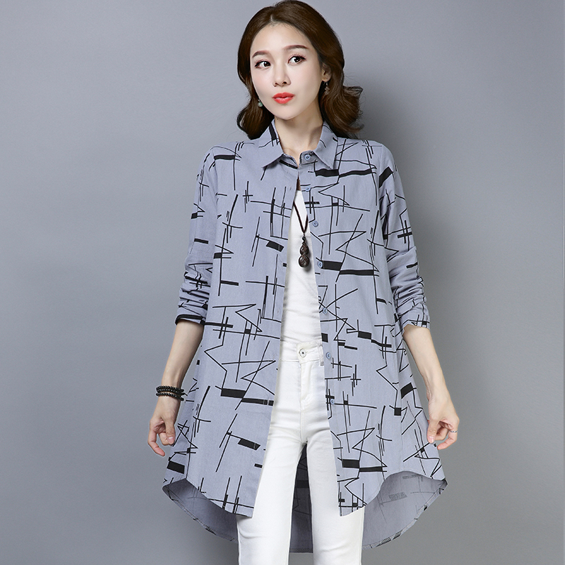 2923 Spring 2019 Long Sleeve Print Vintage Shirt For Women Plus Size Loose Print Casual Vintage Tunic Asymmetrical Blouse Shirt in Blouses amp Shirts from Women 39 s Clothing