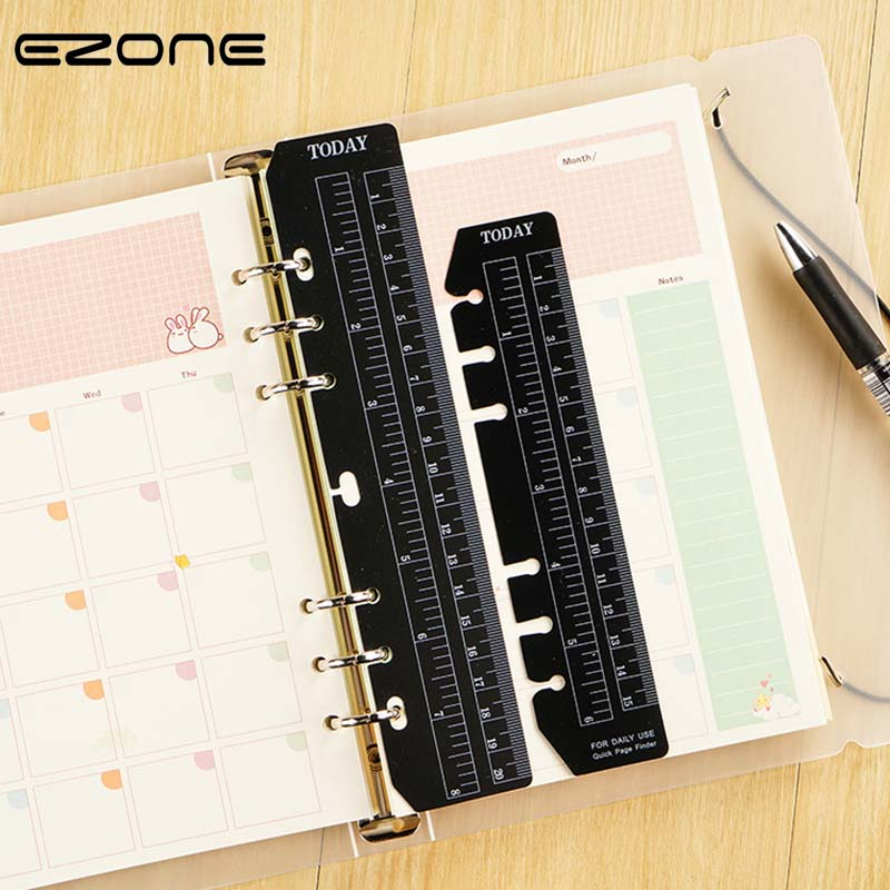 EZONE 1PC Notebook Index Page PVC Loose-leaf Separator Page A5/A6/A7 Different Size Multi-function 6 Holes Bookmark Ruler