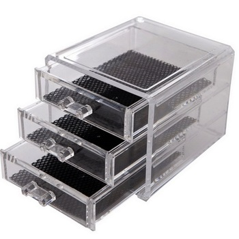 Clear 3 Drawers Plastic Storage Box Small Size135x125x110mm Organizer Box With Black Inside фото