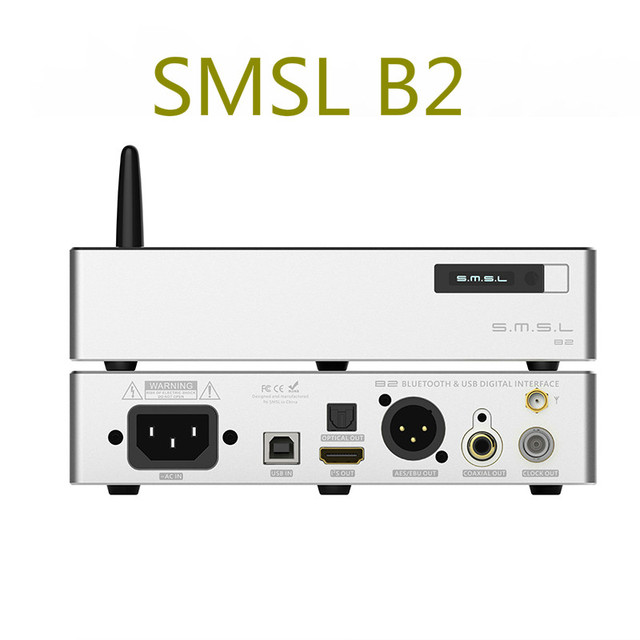 SMSL B2 Desktop Digital DAC Audio Amp Hifi Bluetooth DAC USB DSD512 Decoder Optical Coaxial AES output