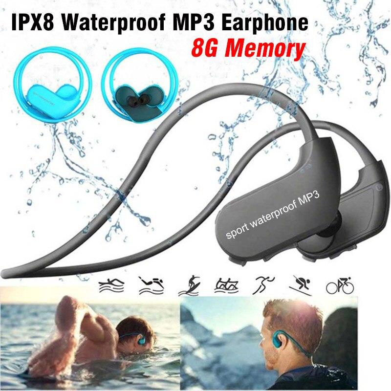 Original 100% étanche Mp3 lecteur natation écouteurs surf IPX8 Sport écouteurs 8 GB mémoire casque USB Mini lecteur de musique