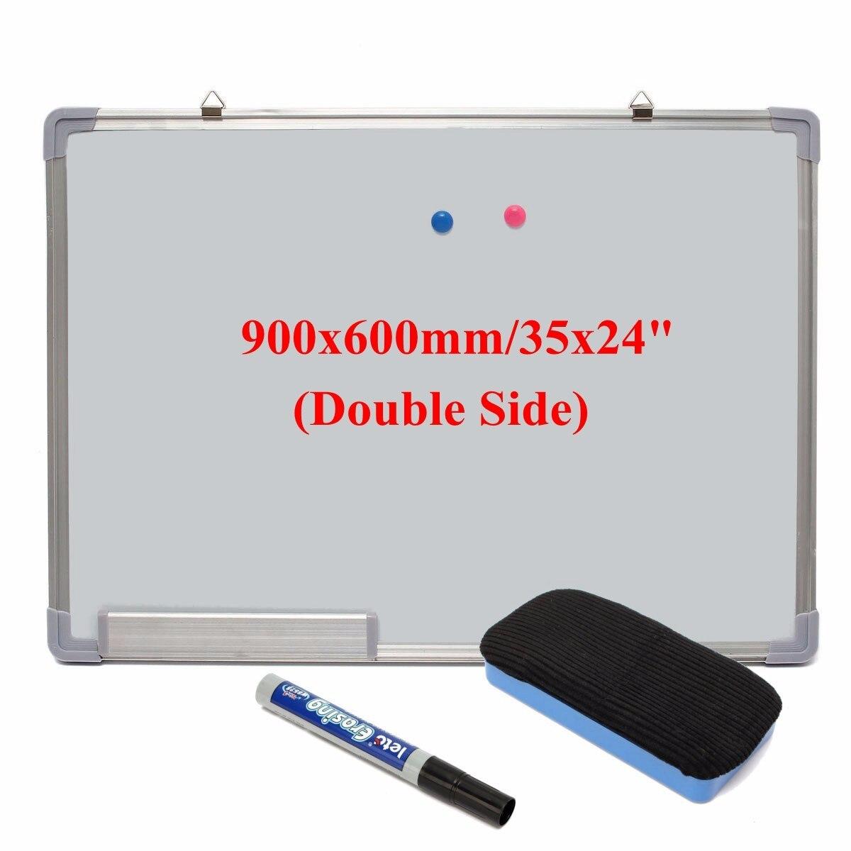 Kicute tableau blanc effaçable à sec magnétique 600x900 MM Double face avec stylo effaçable aimants boutons pour école de bureau - 3