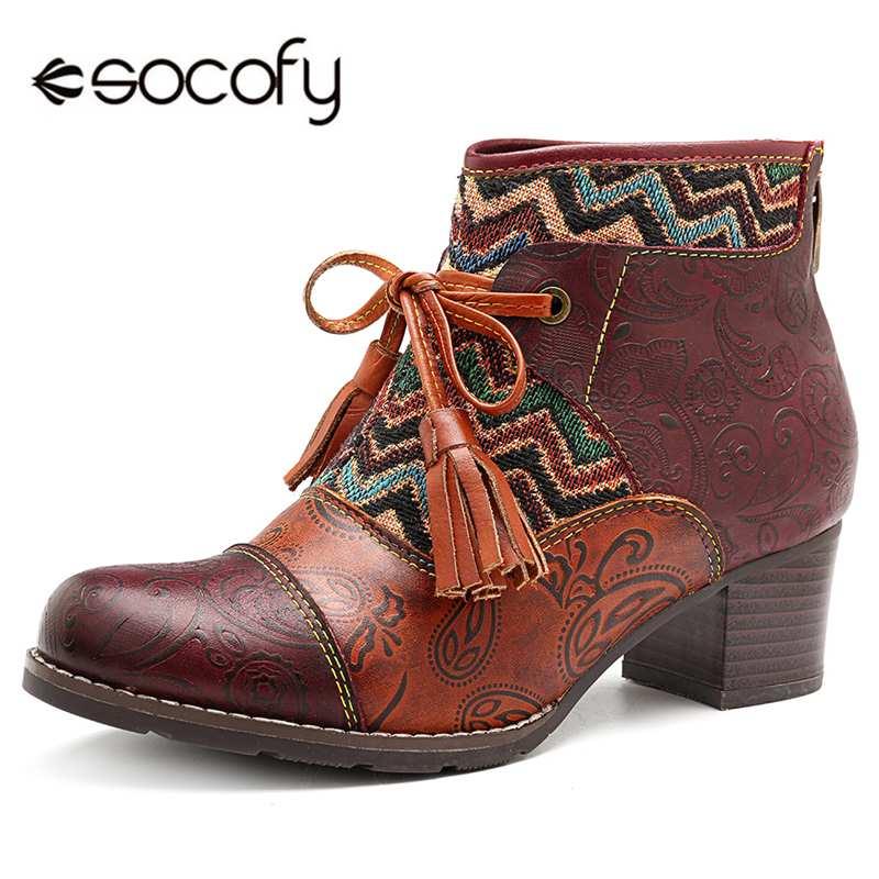 cf65a1f47e08 Cuir Socofy Femme Bowknot Véritable Rétro Rouge Épissage Bottines  Chaussures Bottes Botas Femmes Bloc Vin Nouveau ...