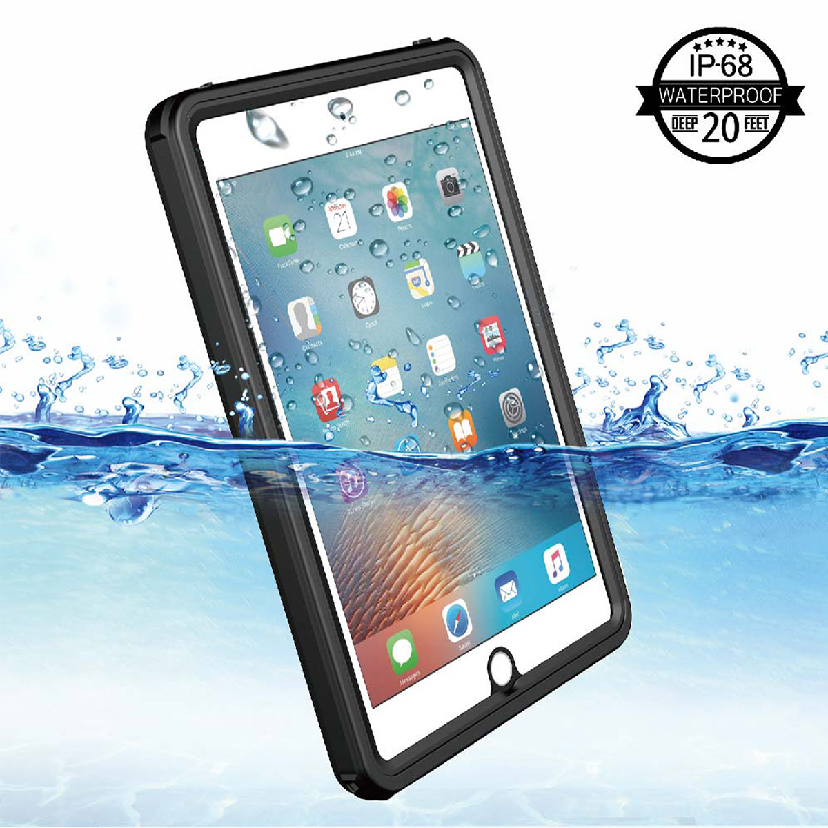 For iPad Mini 4 Waterproof Tablet Case Shockproof Dust Proof Tablet Cover  with Adjustable Tablet Stand Built-in Screen Protector