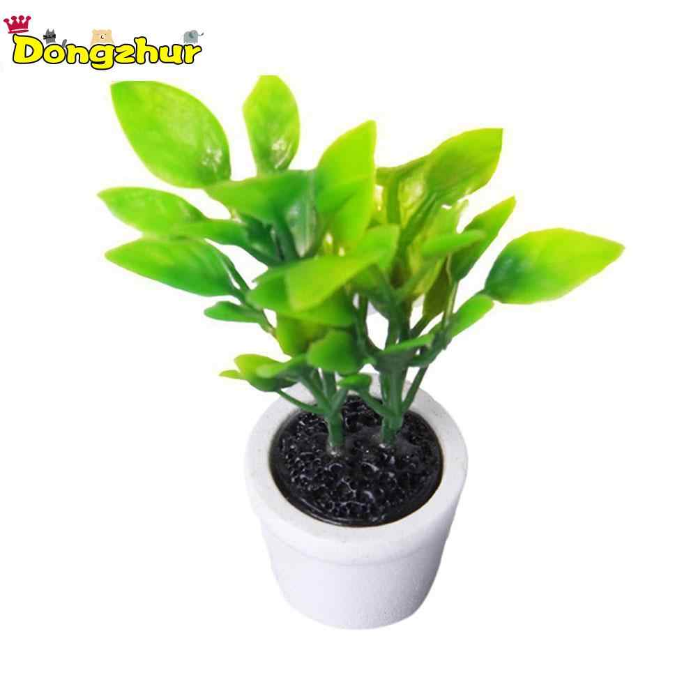 Green Miniature Accessories Mini Plastic Tree Potted Simulation Potted Plants Model Toys for 1:12 Doll House Decoration WWP4073