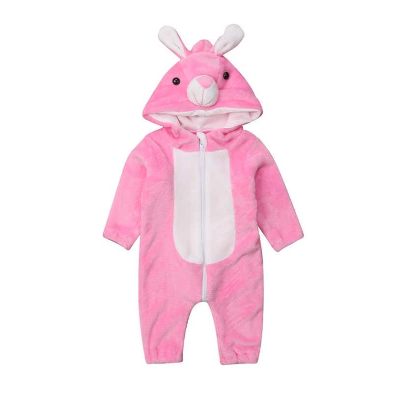 С рисунком из мультфильма для маленьких мальчиков и девочек Комбинезон с зайчиком; зимние; теплые; милые плюшевые фланелевые пижамы с капюшоном в виде комбинезона для детей дети молния комбинезоны детские одежда От 0 до 3 лет