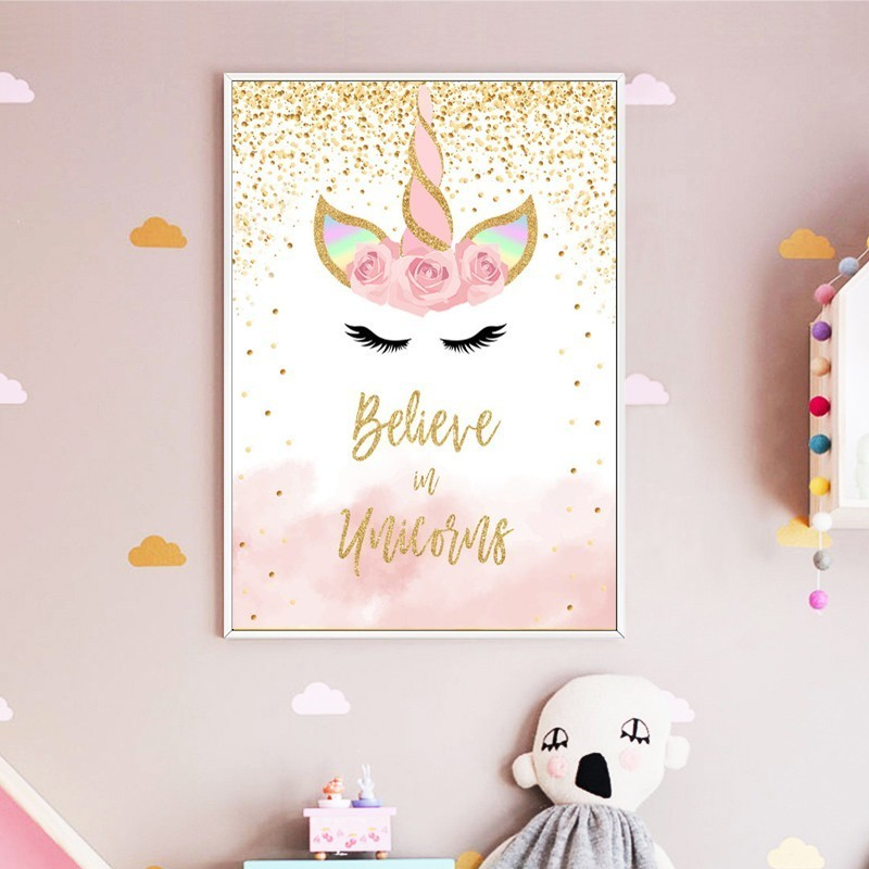 SURE LIFE Cartoon Pink Gold Unicorn Wall Art Believe in Unicorns Poster Print Canvas Paintings Pop Picture Girl's Bedroom Decor